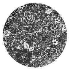 Botanical Beauties Black n White DINNER PLATE #zazzle #plate #melamine #black #flowers #doodles