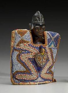 Yoruba Twin Figure wearing a Fine Beaded Gown, Nigeria