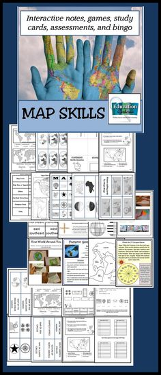 Bingo Game for 30,Pumpkin globe project, Symbol notes, Map Quiz for continents and oceans, Map skills quiz, Study cards, class games and activities