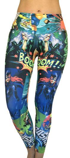 Superhero Leggings Workout Clothes from Sadhana by Tono A Tono Women's Printed Workout Clothing at SanDiegoFit.Com