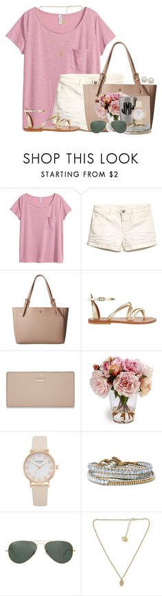 """""""Blush is my neutral"""" by annaewakefield ❤ liked on Polyvore featuring H&M, Tory Burch, K. Jacques, Kate Spade, Chan Luu, Ray-Ban and Honora"""
