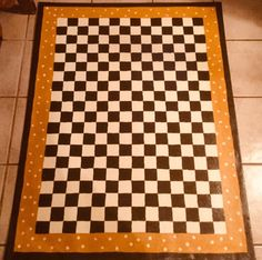 Floorcloth Black And White Diamond Pattern Hand Painted