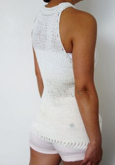 Knitting Pattern Laced Cropped Tank Top/ Asymmetrical Summer