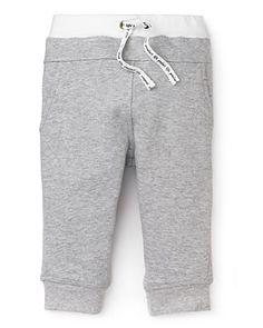 Pearls & Popcorn Infant Boys' White Waist Sweatpants - Sizes 3-36 Months  PRICE: $35.00