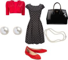 """""""Teacher Style - Red and Black Polka Dots"""" by becka-boo1220 on Polyvore"""