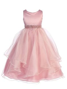 Amazon.com: Girls Chic Baby Asymmetric Ruffles Satin/Organza Flower Girl Dress: Clothing