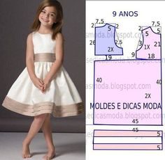 Mod@ en patterns for dress sewing ( Dresses for girls).Dress for a girl of 9 yearsCould do similar with first day dress patternComments on the topic Little Dresses, Little Girl Dresses, Girls Dresses, Kids Dress Patterns, Clothing Patterns, Fashion Kids, Dress Anak, Baby Sewing, Sewing Clothes