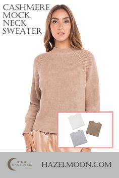 """Casually cool shaker stitch sweater, knit from cotton with a touch of luxe cashmere. - 95% cotton; 5% cashmere- 21"""" length- Long sleeve- Mock neck- Imported- Hand wash, dry flat. #HazelMoon #CashmereSweater Loungewear, Cashmere Sweaters, Mock Neck, Sweaters For Women, Moon, Touch, Flat, Knitting, Luxury"""