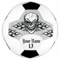 Personalized Winking Skull and Flame Soccer Ball