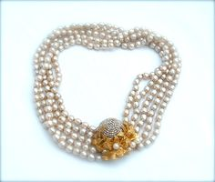 RESERVED Signed Miriam Haskell Necklace Baroque Pearl by kiamichi7