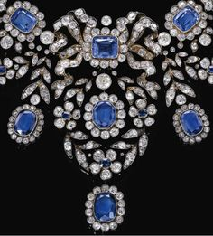 Sapphire and diamond necklace, late 19th century. - Diamonds in the Library : Diamonds in the Library