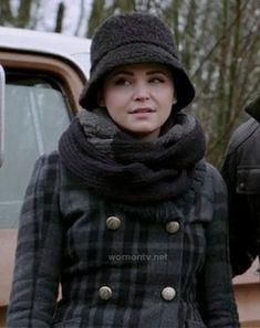 Mary's grey check print coat, black bucket hat and grey scarf on Once Upon a Time.  Outfit Details: http://m.wornontv.net/14841/