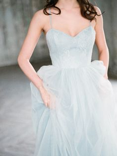 Gray blue unique wedding dress Tara by Milamira Bridal