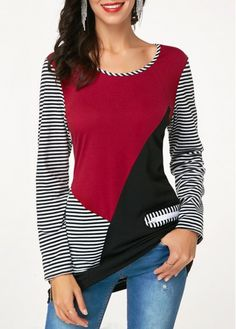 Color Block Striped Long Sleeve T Shirt Xl Fashion, Fashion Outfits, Ladies Fashion, Trendy Fashion, Womens Fashion, Gilet Crochet, Shirt Sale, T Shirt, Trendy Tops For Women