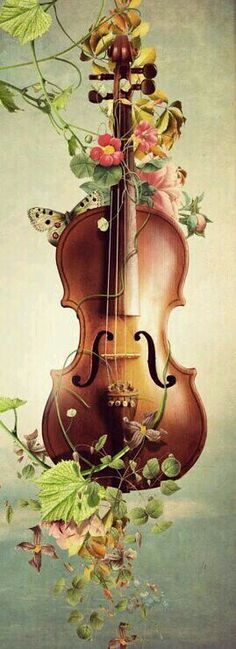 Violin in flowers