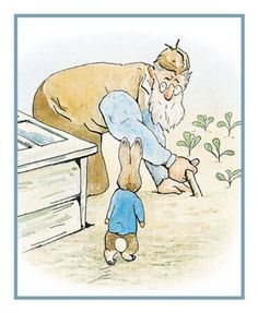 Farmer McGregor and Peter in the Garden inspired by Beatrix Potter Counted Cross Stitch or Counted Needlepoint Pattern