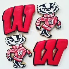 Bucky Badger & Motion W Decorated Cookies