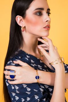 Absolute campaign by Zariin. A collection of chic essentials. Minimal, geometric inspired pieces that take you from day-to-night and work-to-party! Shop the collection at  http://zariin.com/22-kt-goldplated-jewelry-new-arrivals/absolute-chic-essentials #Absolute #Minimal #zariin #zariinjewelry #geometric #lapislazuli #malachite #rhodochrosite #chic #basic
