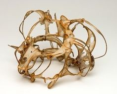 Talya Baharal Bracelet made with flax, abaca paper, wire