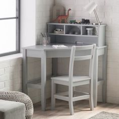 Classic Playtime Juvenile Corner Desk and Reversible Hutch with Chair - Gray - ALZ1202-1