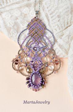 Micro-macrame necklace with the amethyst gemstone by MartaJewelry