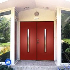 Contemporary Double Entry Doors ThermaTru Smooth fiberglass