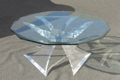 DESIGNER Signed Lion in Frost Triple Butterfly LuciteLux® and Glass COFFEE TABLE – Phaon