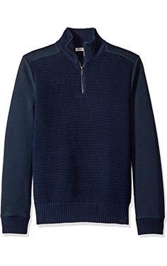 Calvin Klein Jeans Men's Quarter Zip Ottoman Tube Mixed Gauge Sweater, Navy, 2X-LARGE ❤ Calvin Klein Jeans Men's Collection
