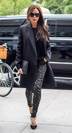 Victoria Beckham and Victoria Beckham Floral Stretch-Jacquard Skinny Pants, Casadei Suede Blade Pump Seen On Victoria Beckham, Victoria Beckham Zipped Clutch Seen On Victoria Beckham, Victoria Beckham Felted wool coat Seen On Victoria Beckham. See the latest Victoria Beckham style, fashion, beauty, trends, wardrobe and accessories.