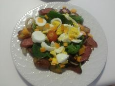Love This Breakfast Salad ... Boiled Eggs, Baby Spinach, Turkey Sausage, red potatoe hash browns ... Balsamic Vinagerette...YUMMY