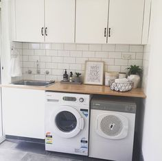 White walls, white subway tiles, wooden benchtop Informations About I… Small Laundry Rooms, Laundry In Bathroom, Laundry Table, Garage Laundry, Laundry Dryer, Basement Laundry, Washroom, Wooden Benchtop Kitchen, Black Slate Floor