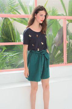 Jupe roberta palmier - jupe 100% lin - des petits hauts 1
