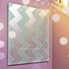Our Finished #glitter #chevron canvas. We painted it #grey first & used #silver glitter spray #paint. #DIY #project #home #house #renovate #repurpose