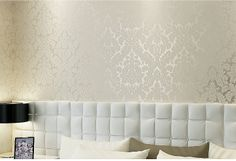 White Silver Damask Flock Eco friendly Non woven Fashion Wallpaper Walls Roll 10m-inWallpapers from Home Improvement on Aliexpress.com