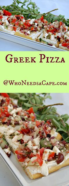 Greek Pizza is a wonderfully flavorful dish that contains feta, cheese, tomatoes and olives.  Great for parties or as an appetizer.