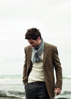 Love the look: scarf, blazer, sweater & slacks #menswear