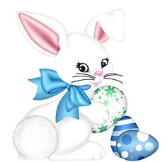 Transparent Easter Bunny and Egg PNG Clipart Picture