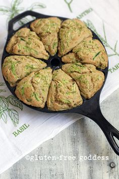 GLUTEN FREE ZUCCHINI LIME SCONES: SORGHUM FLOUR, WHITE RICE FLOUR, TAPIOCA STARCH, BROWN SUGAR, BAKING POWDER, BAKING SODA, XANTHAN GUM, CINNAMON, SS, NUTMEG, COCONUT OIL, EGG, LIME, SOY MILK, VANILLA, ZUCCHINI