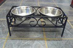 Raised double dog bowl stand / holder/ feeding station