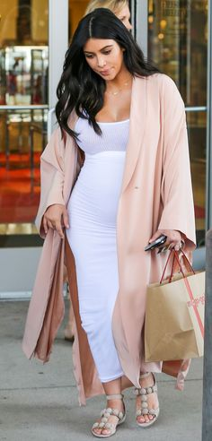 Peach & White from Kim Kardashian's Pregnancy Style  The reality star opted for light, pastel colors while out and about with nephew Mason Disick, 5.