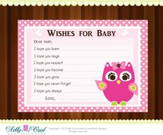 Pink Girl Owl Baby Shower Wish and Advice Card Printable DIY  - ONLY digital file - you print. $4.50, via Etsy.