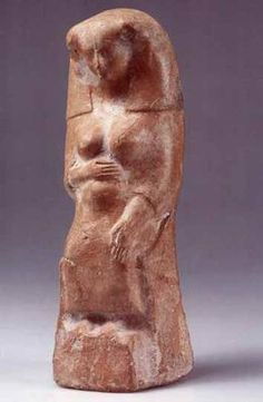 Phoenician Figurine of Pregnant Woman. Terracotta. Iron Age II, 8th-6th century BCE. From cemetery at Tel Achziv, Israel. Israel Antiquities Authority: IAA 1958-314.