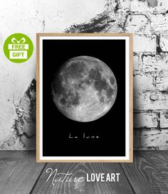 The Moon, Moon poster, Moon photo, Scandinavian poster, vintage Moon, Moon art, Moon print, Moon wall art, black and white