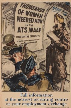 """""""Thousands of Women Needed Now in the ATS WAAF"""" ~ British WWII home front poster illustrated by Dame Laura Knight for HMSO, 1940."""
