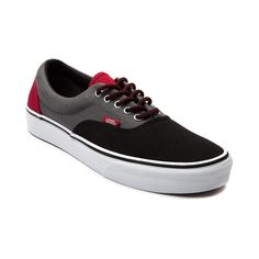 Shop for Vans Era Skate Shoe in Black Grey Red at Journeys Shoes. Shop today for the hottest brands in mens shoes and womens shoes at Journeys.com.The Vans Era is a skate classic crafted with a soft footbed, double-stitched vamp, padded collar, and Vans signature waffle sole. Features a three tone canvas upper with a red highlight heel,  tongue, and lace-up variation.