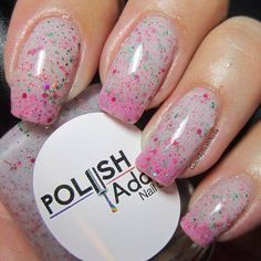 This one was originally a custom polish for @mszgenevieve on Instagram. It's a clear/white almost grayish when warm to a bright pink when cold with holo pink