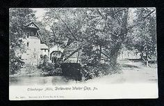 DELAWARE WATER GAP PA ANTIQUE POSTCARD c1907 EILENBERGER MILLS & COVERED BRIDGE