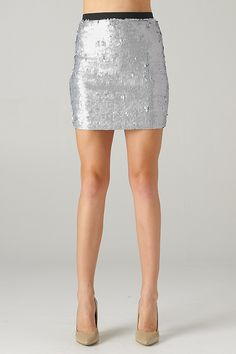 All Over Sequin Skirt (Matte Silver) - Front