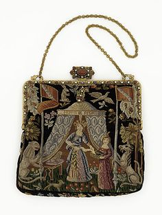 Embroidered silk handbag with gilt metal and paste stones, French, ca. 1925.