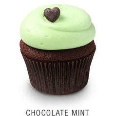 Valrhona chocolate cupcake with a mint frosting topped with a chocolate brown fondant heart  Georgetown Cupcake | DC Cupcakes | Menu